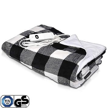 Navaris manta eléctrica XXL - Colcha 180x130CM con termostato - Manta térmica con regulador 3 niveles - Lavable en lavadora- diseño cuadros