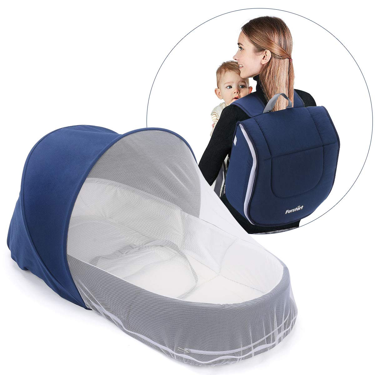 Forstart Baby Snuggle Nest Baby Lounger Baby Diaper Bag for Travel Infant Sleeper Portable Baby Bed or Bassinet with Free Diaper Changing Pad Canopy and Bug Net Included by Forstart