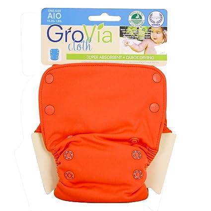 GroVia pañal de tela todo en uno para bebé en blanco y naranja