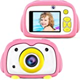 BlueFire Kids Camera 12MP HD Digital Camera for Kids Mini 2 Inch LCD Screen Child Camcorder with Cartoon Penguin Silicone Case & 256M TF Card, Best Kids(Pink)