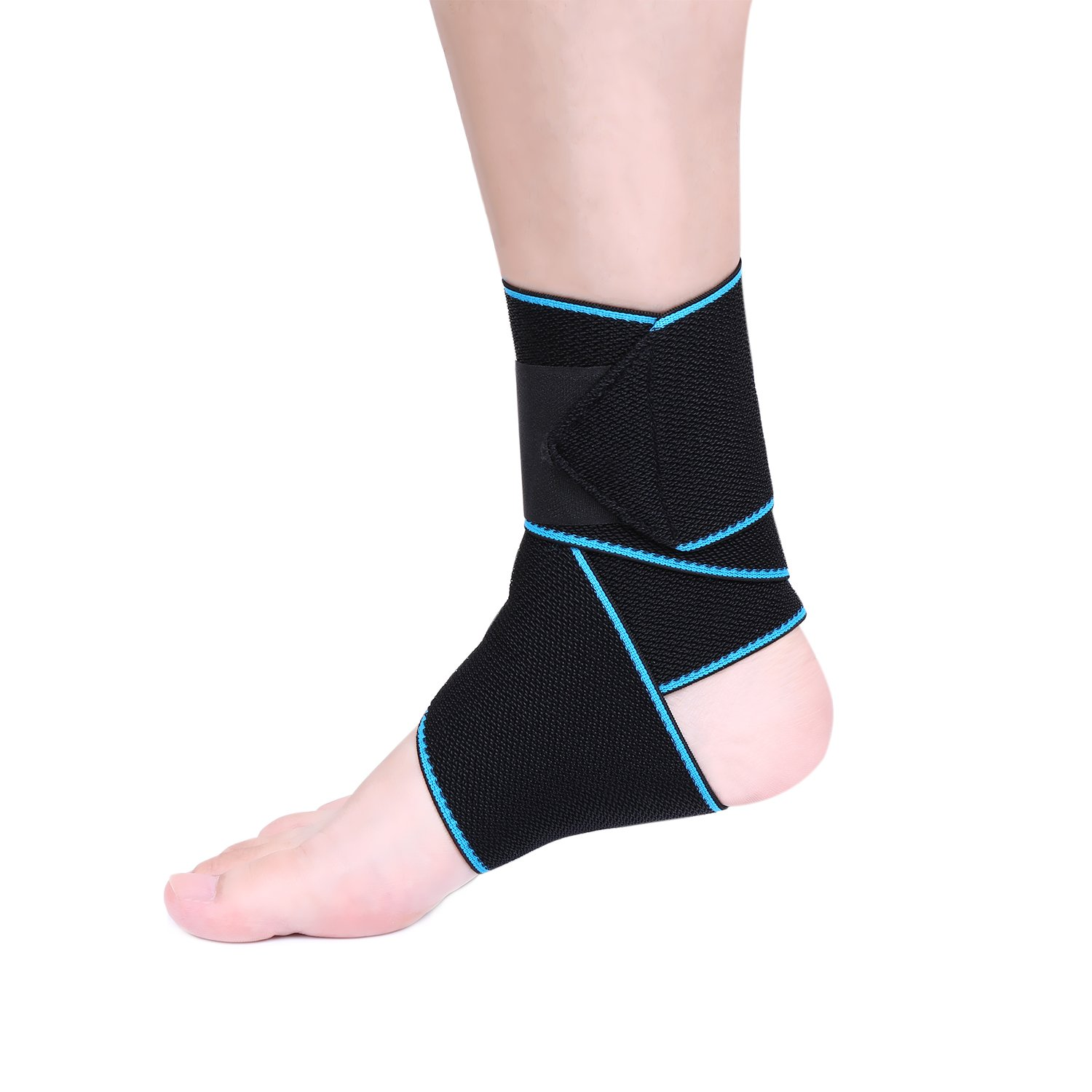 Breathable Ankle Support, eNilecor Adjustable Ankle Brace Elastic Foot Straps Support for Running, Football, Achilles Tendon Pain Support, Arthritic Pain Relief, Protection Against Reinjury (Blue)