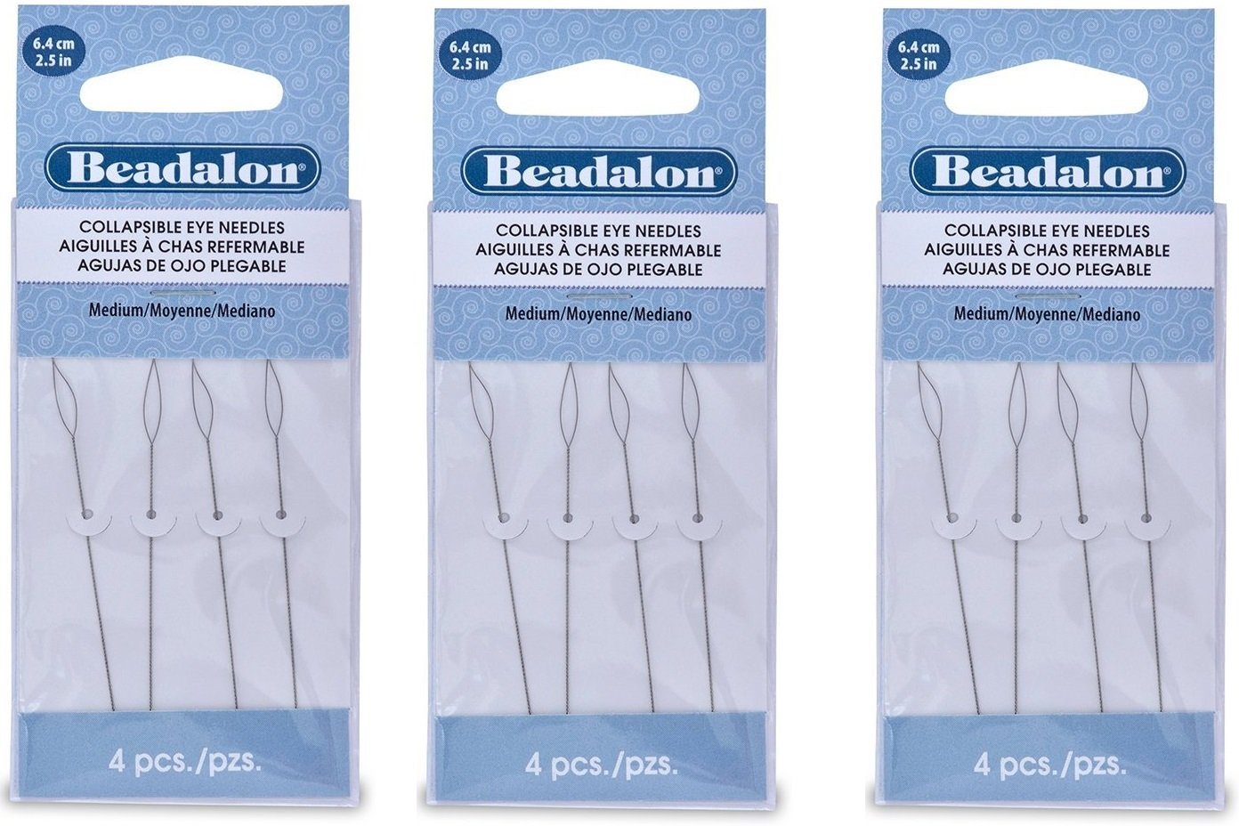 Beadalon Collapsible Eye Needles 2.5-Inch Medium (3 Pack) by Artistic Wire