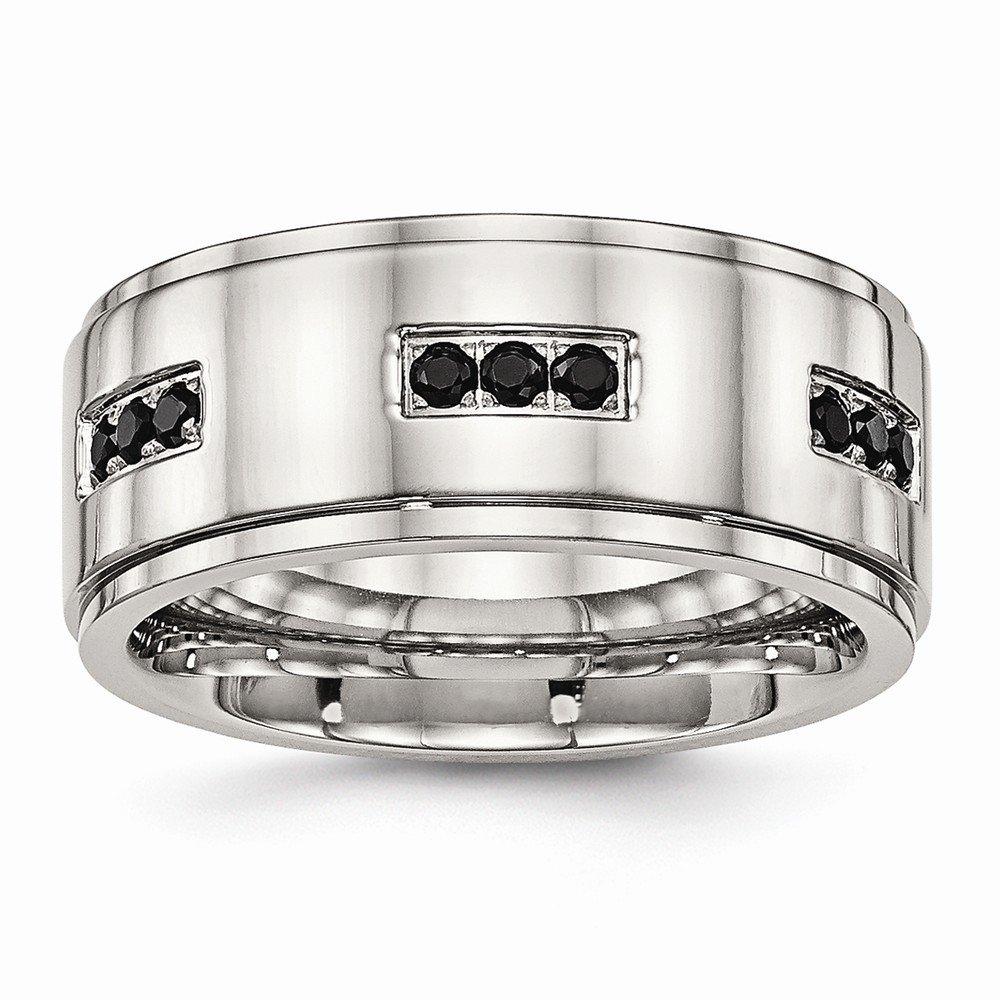 Bridal Wedding Bands Decorative Bands Stainless Steel Polished Ridged Edged Black CZ Ring Size 11
