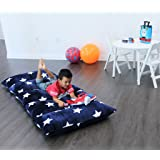 Heart to Heart Kid's Floor Lounger King  Plush Fabric Seats and Pillow Cover - Navy Blue