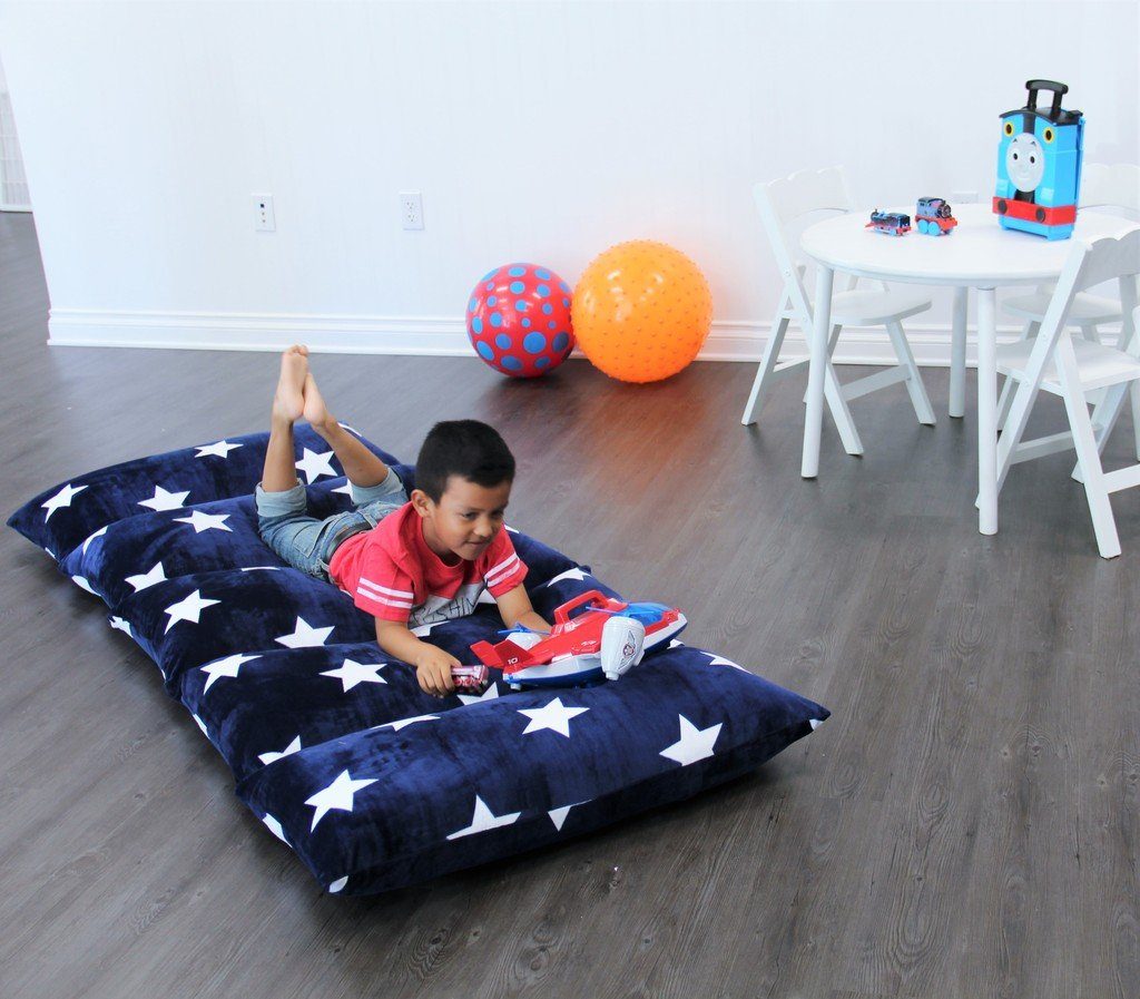 Kids Floor Pillow Fold Out Lounger Fabric Cover for Bed and Game Rooms, Reading, Video Games or ...