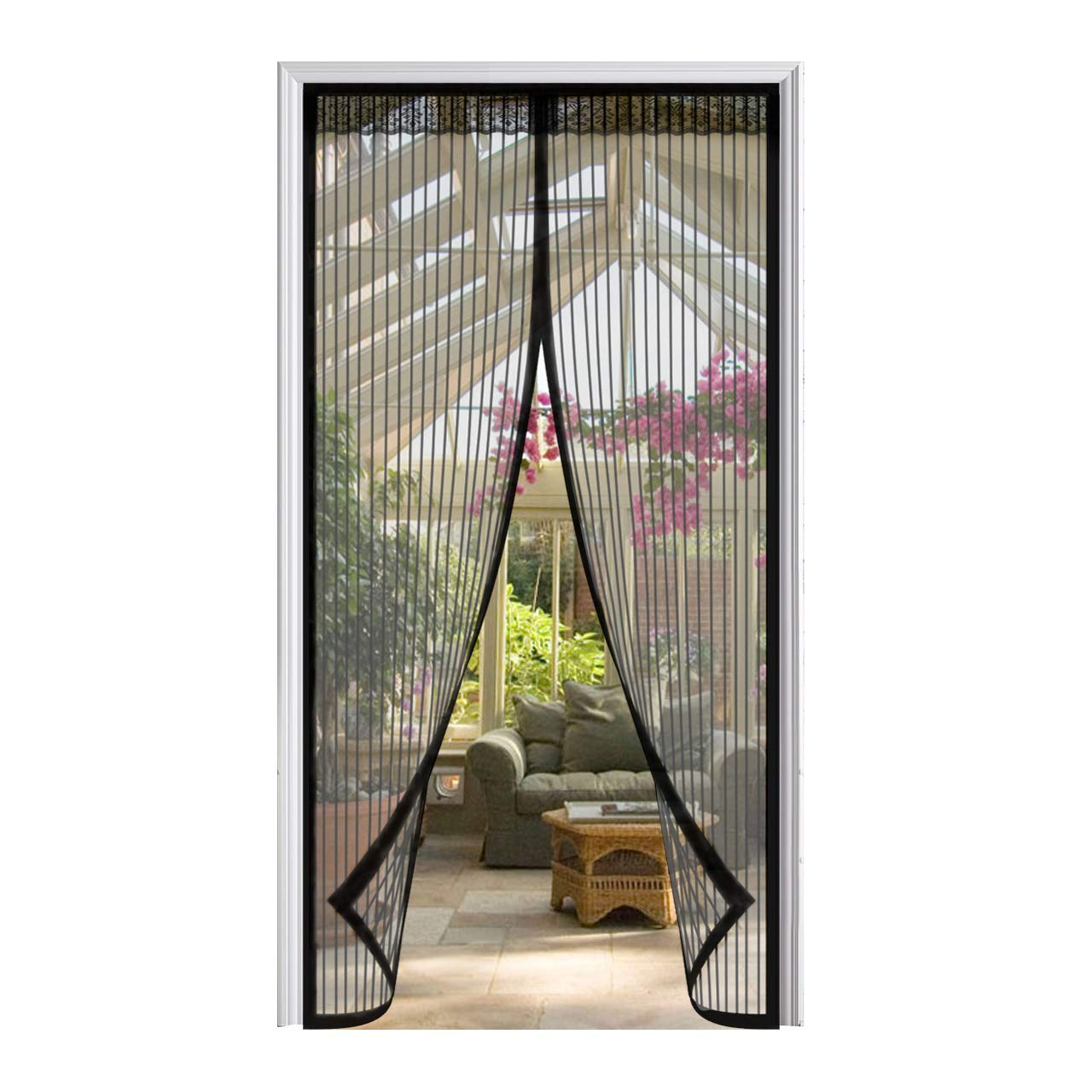 LOOCH Magnetic Screen Door with Heavy Duty Mesh Curtain and Full Frame Velcro Fits Door Size up to 34-82 Max-Black by LOOCH