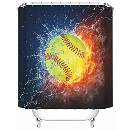 Amazon ZBLX Football Basketball Baseball Shower Curtain
