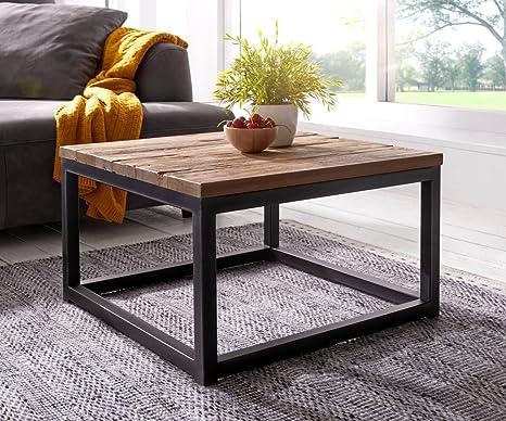 Coffee Table Natural Teak Topeka 60x60 Industrial Metal Frame Coffee Table Amazon De Kuche Haushalt