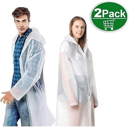 Damen Regenmantel Regenjacke Transparent Kapuze Knöpfen Regenschutz Jacke Lang
