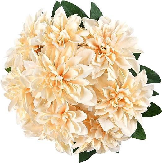 Bunch of Artificial Silk Flowers DAHLIAS Cream /& Red 5 Stems,10 Flower Heads.