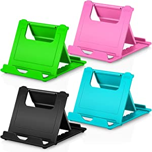 """Phone Stand, 4pack Cellphone Holder (4-7.9"""")stands Foldable Multi-angle for desk lightweight Desktop Dock Cradle Compatible for iPhone Xs Max XR 8 Plus 6 7 6S X 5 (Black Blue Green Pink)"""