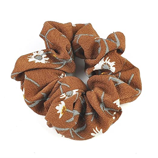 Amazon.com : IKevan Summer Floral Hair Scrunchies Bun Ring Elastic Fashion Sports Dance Scrunchie (Coffee) : Beauty
