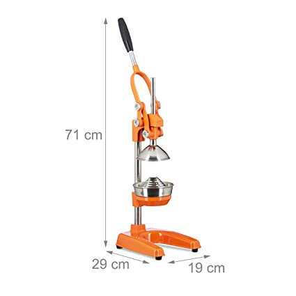 Compra Relaxdays exprimidor naranjas manual Z8, prensa profesional, en naranja en Amazon.es