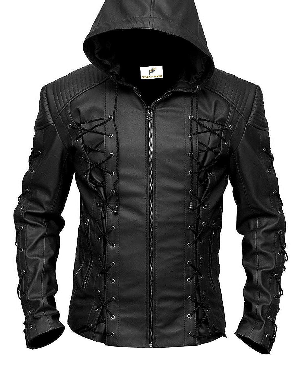 Figura Fashionz Stephen Amell Roy Harper Green Arrow Faux Leather Jacket in Black - Super Hero Leather Jacket FF-43-B