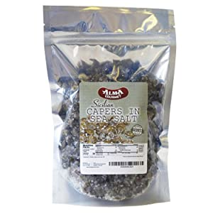 Alma Gourmet Sicilian Capers in Sea Salt Imported from Italy |1.1 Pound (500g)
