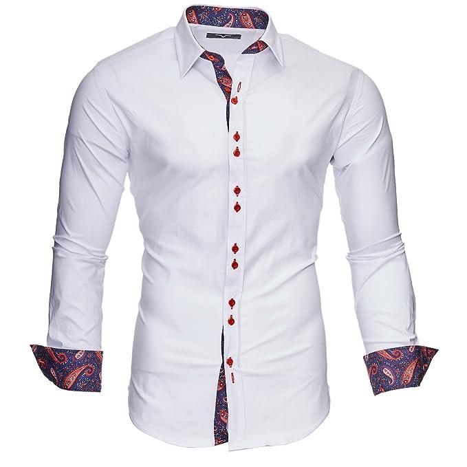 05738315e721 Kayhan Originale Uomo Camicia Slim Fit Facile Stiro Cotone Maniche ...