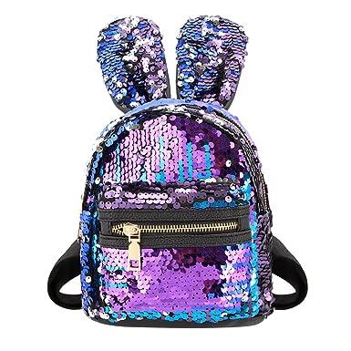 98981d07f2f3 Liliam Kids Girls Dazzling Sequins Rabbit Ears Backpack Daypack Shoulder  Travel Mini Bag Satchel