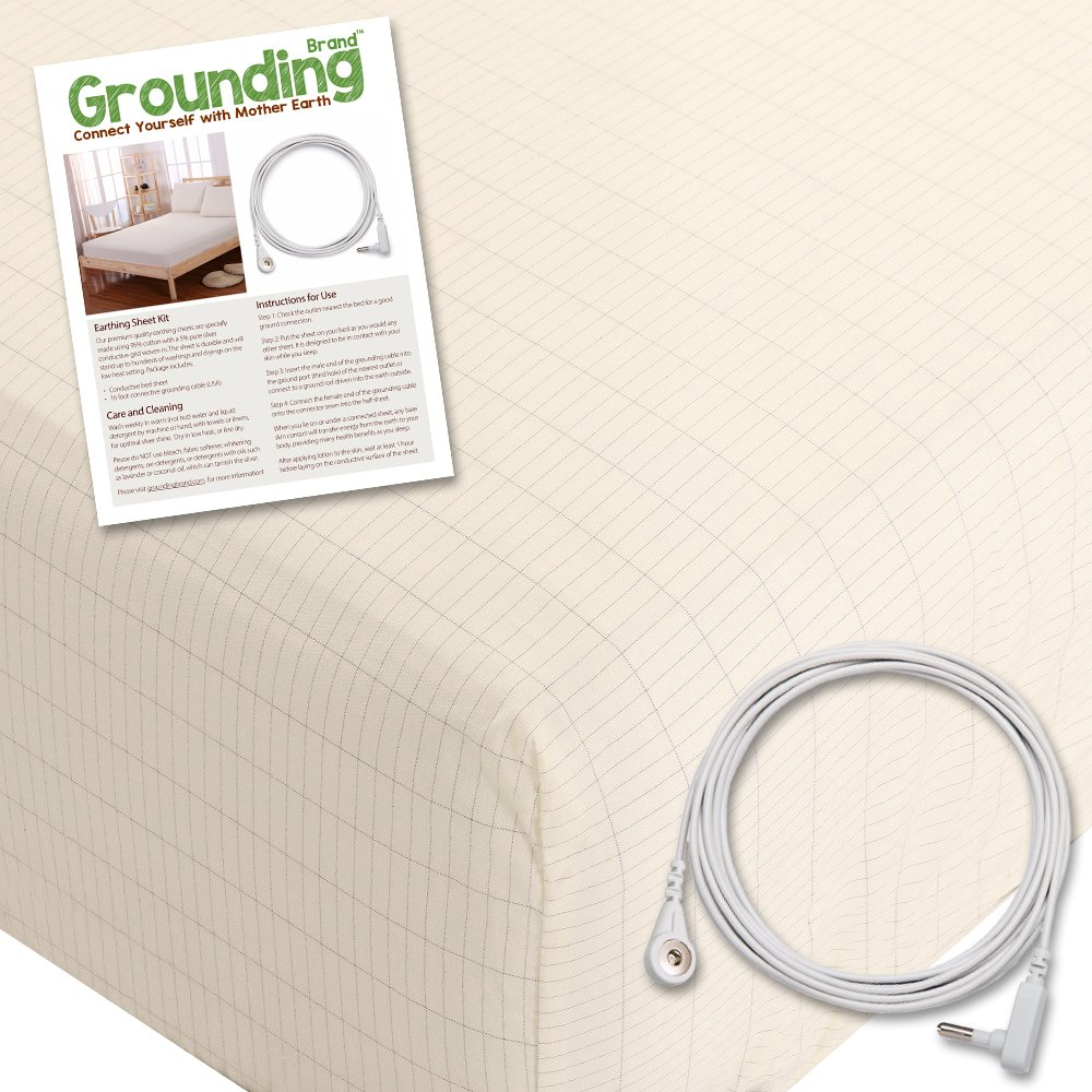 Grounding Brand Fitted California King Size Sheet with Earth Connection Cable, 400TC Conductive Mat with Pure Silver Thread for Better Sleep and Healthy Earth Energy, Natural Tan by Grounding Brand