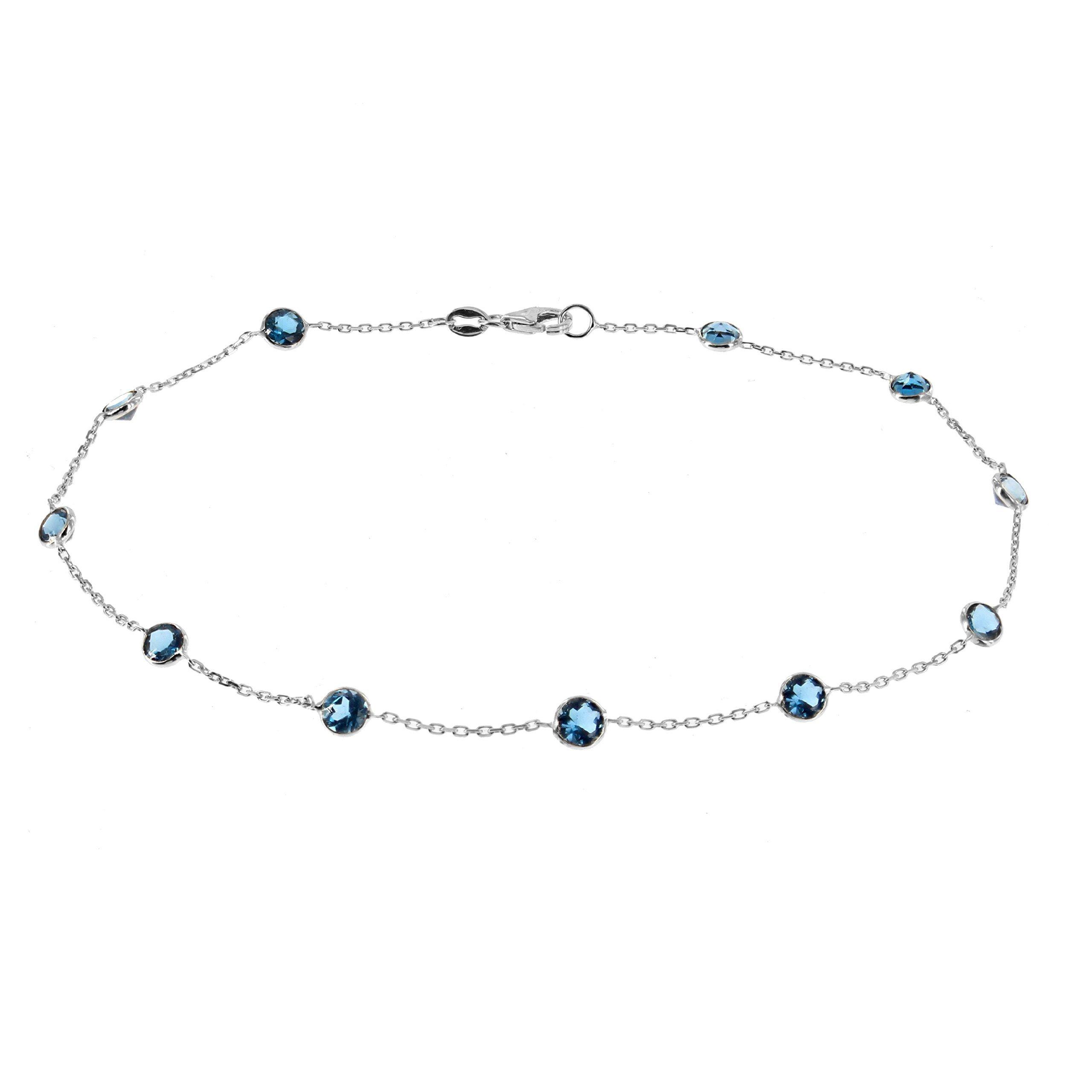 14k White Gold Handmade Station Anklet With London Blue Topaz Gemstones 9 - 11 Inches