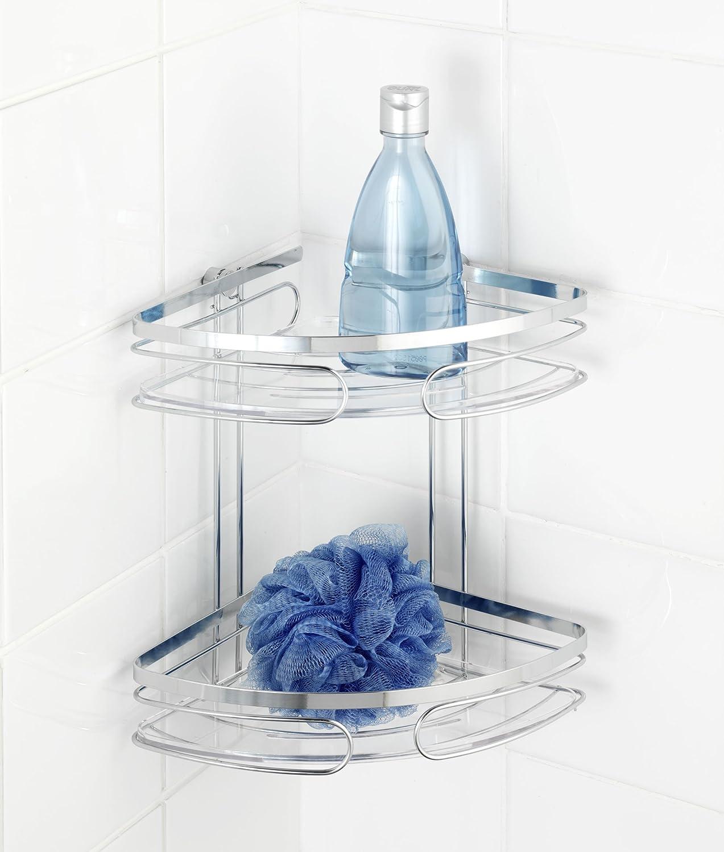 wenko 20412100 eckregal 2 etagen premium edelstahl rostfrei 265 x 275 x 19 cm glnzend amazonde kche haushalt - Eckregal Dusche Glas