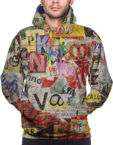 Harry wang Sudadera con Capucha para Hombres Diseño de Fondo con Textura Grunge con Viejos periódicos Rotos. Camisa de Entrenamiento: Amazon.es: Ropa y accesorios