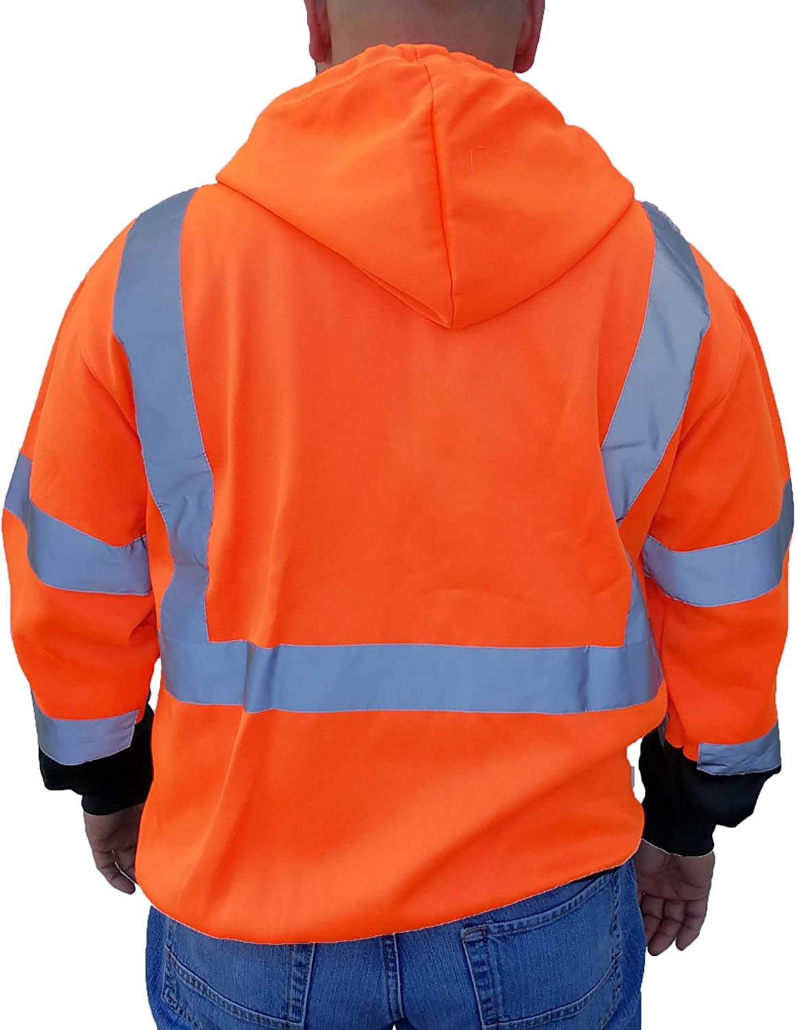 3C Products SAJ6800, ANSIISEA Class 3, Men's Safety Fleece Hoodie Jacket, Reflective, Pockets, Neon Orange wBlack Bottom