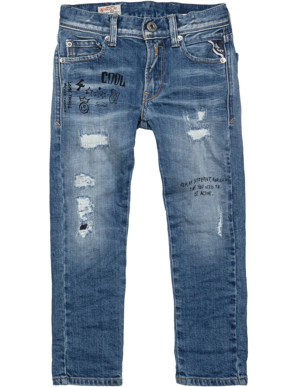 Replay Boys Blue Denim Trousers With Rips And Print in Size 12 Years Blue by Replay