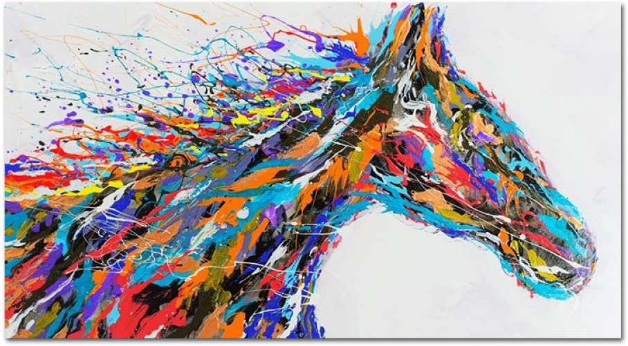 Pintura Al Óleo Pintada A Mano Sobre Lienzo,100% Pintado A Mano Animales Abstractas Pinturas Al Óleo Colorido Arte De Pared De Cabeza De Caballo Cuadros Al Óleo Ilustraciones De Gran Tamaño Para O