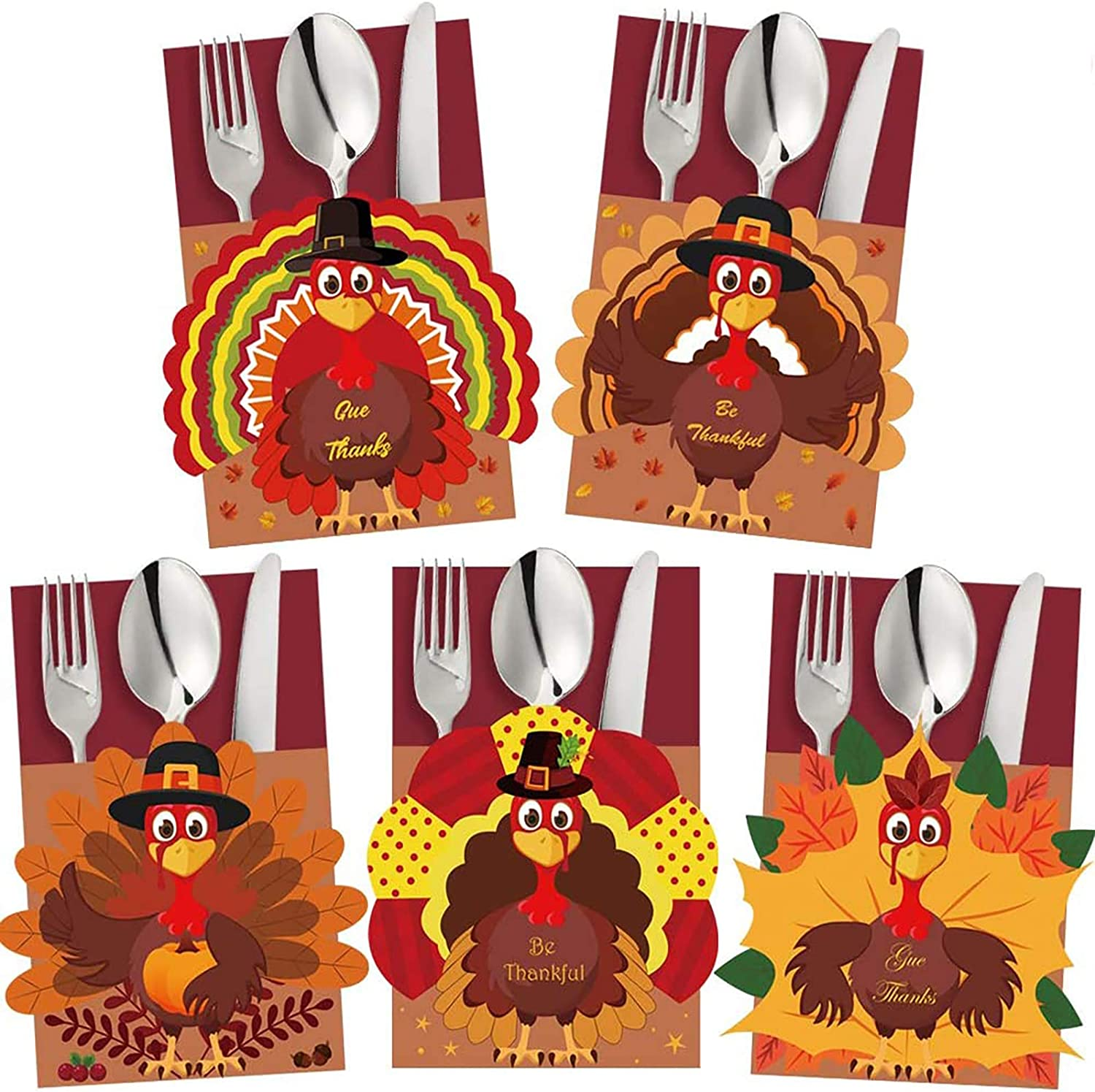 FUNARTY 20pcs Thanksgiving Cutlery Holder Set for Thanksgiving Turkey Utensil Decor, Autumn Fall Harvest Party Favor Supply Table Decoration
