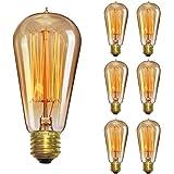 Vintage Light Bulb 60W, Elfeland Antique Style Edison Bulb ST58, Squirrel Cage Filament Teardrop Top, 337 Lumens Dimmable Incandescent Light Bulb, E26/E27 Medium Base (6 Pack)