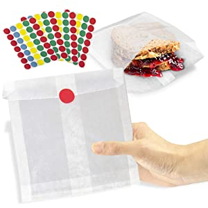 [200 Bags and 200 Stickers Pack] 7 x 6 x 1 Inch Wet Wax Paper Sandwich Bags and Assorted Color Dots Sticker Label - Biodegradable White Glassine Bag Sheet, Food Grade Grease Resistant for Snacks Bread