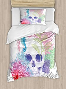 Ambesonne Animal Duvet Cover Set, Halloween Skull Skeleton Head with Coral Reef Dead Aquarium Pirate Wildlife Image, Decorative 2 Piece Bedding Set with 1 Pillow Sham, Twin Size, Blue