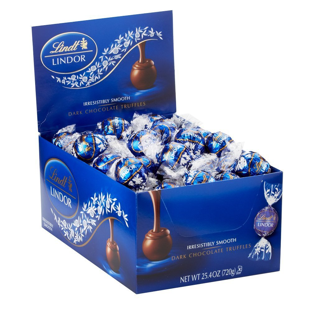 Lindt LINDOR Dark Chocolate Truffles, Dark Chocolate Candy with Smooth, Melting Truffle Center, 25.4 oz., 60 Count