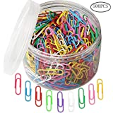 500pcs Coloured Paper Clips, Ruix Plastic-Coated Paperclips Office Clips with Box