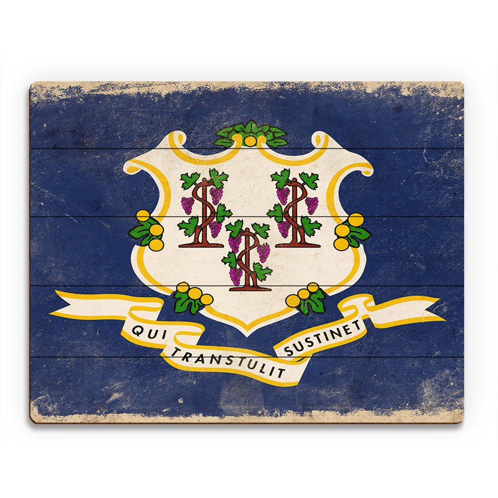 Flag of Connecticut - Light Paper Distressed State Flag Wall Art Print on Wood