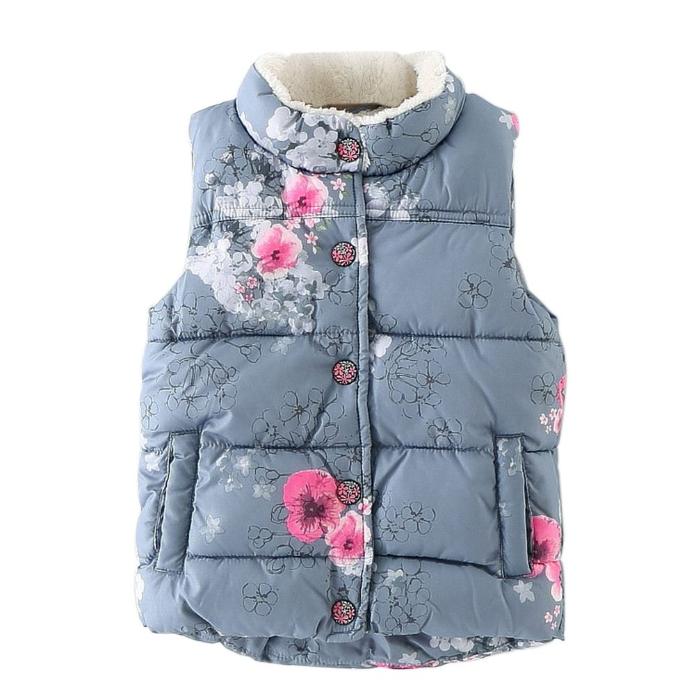 ESHOO Baby Girls Gilets Autumn Winter Graffiti Printed Waistcoat Outwear