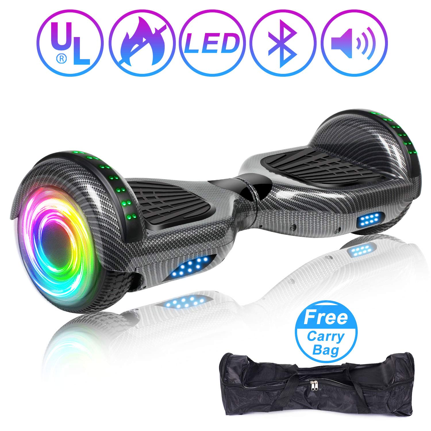 SISIGAD Hoverboard Self Balancing Scooter 6.5'' Two-Wheel Self Balancing Hoverboard with Bluetooth Speaker and LED Lights Electric Scooter for Adult Kids Gift UL 2272 Certified - Carbon Black by SISIGAD (Image #1)