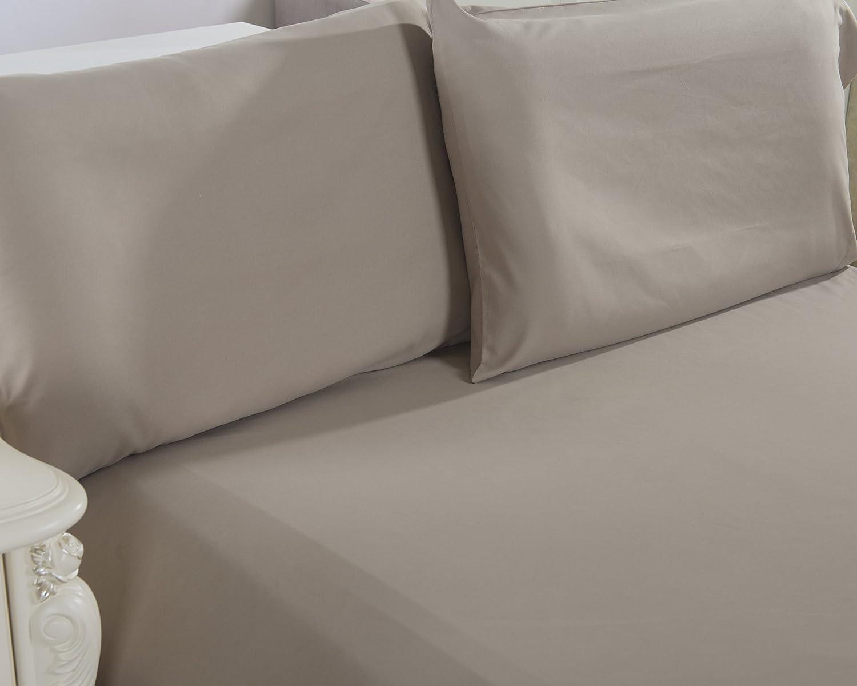 Lullabi Bedding 100% Brushed Microfiber Ultra Soft Pillow Case Set of 2 - Envelope Closure End - Wrinkle, Fade, Stain Resistant, Standard-Queen Size Pillowcase (Khaki)