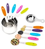 Puckway 10 Piece Stainless Steel Measuring Cups and Measuring Spoons Set (Free Egg Separator) With Silicon Handles For Easy Grip To Measure Dry Rations And Liquids