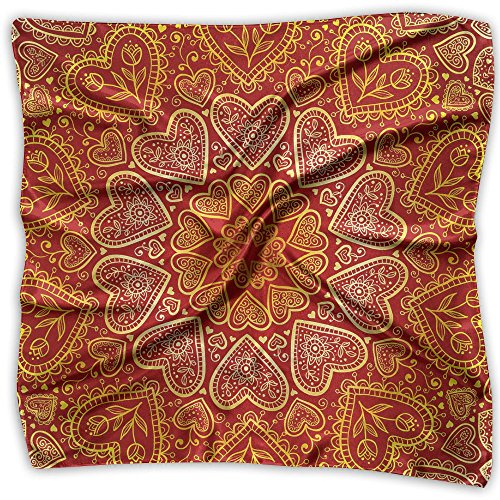 Ornamental Silk Square Scarf - Women's Emulation Silk Scarf Ornamental Round Hearts Large Square Satin Headscarf 2 Size