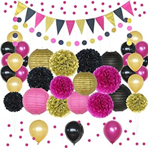 Hot Pink, Gold, and Black Party Decorations, 50 pc Party Supply Set, Paper Pom Pom Flowers, Paper Lanterns, Polka Dot Garland, Glitter Triangle Garland, Balloons, Confetti Decoration Kit (Hot Pink)