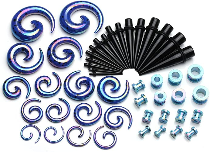 Ear Stretcher Expander Acrylic Spiral Taper 12G 2mm 0G 8mm Choose Colour Size