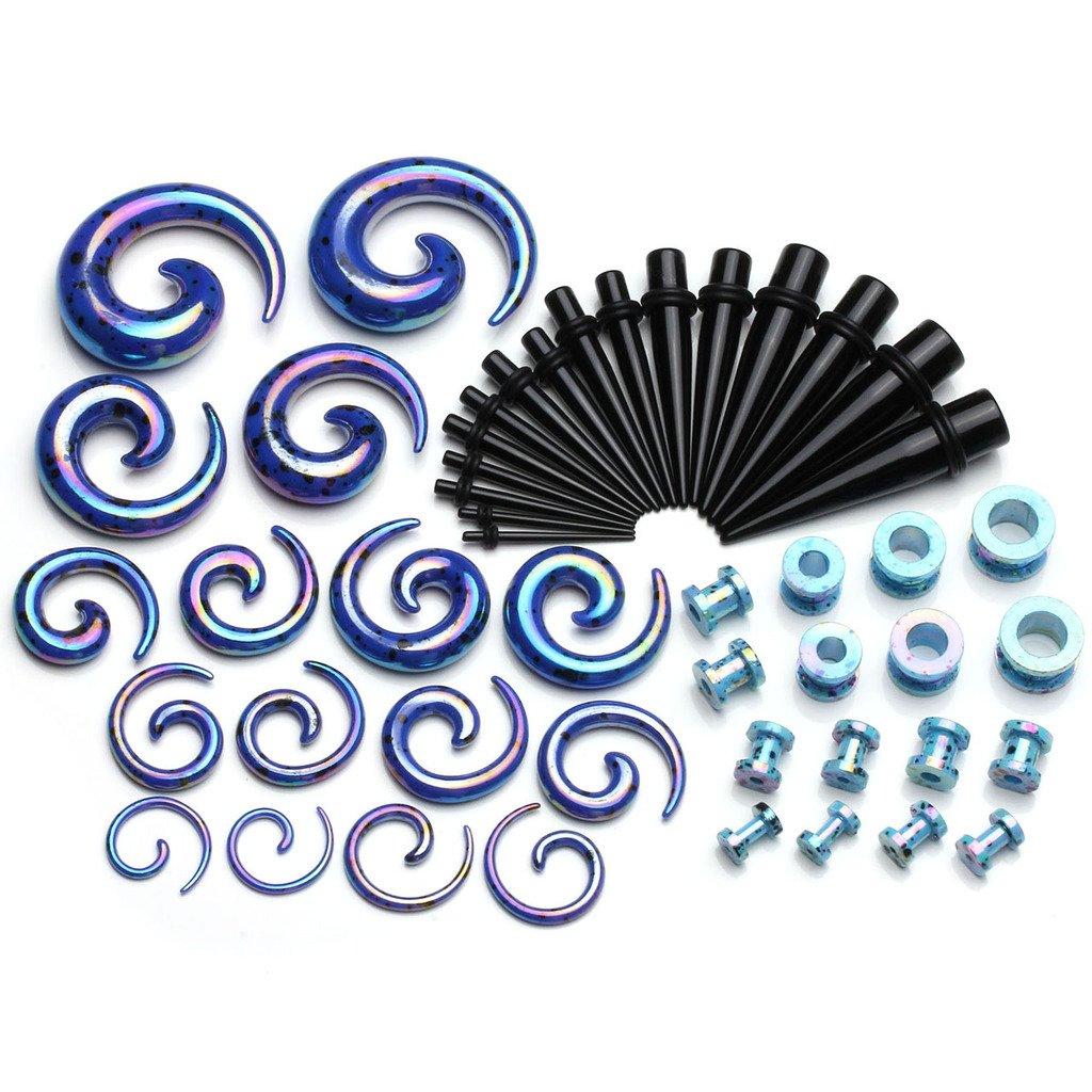 JOVIVI 48pcs 2mm-12mm Arcylic Tapers & Spiral Snail Plugs & Tunnels Plug Ear Gauges Stretching Expander Kits 12g-1/2