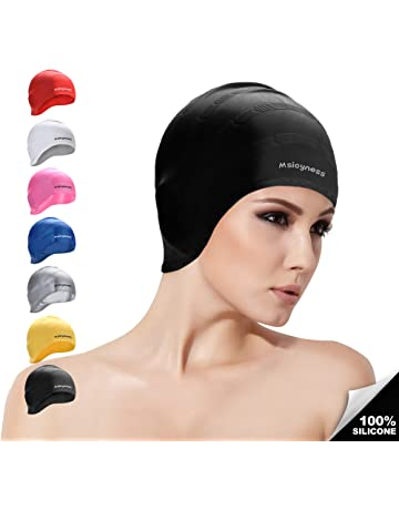 ac860ad2fc2e4 Msicyness Swim Cap Cover Ears for Long Hair Silicone Swimming Hat Unisex  Adult Kids Swimming Pool