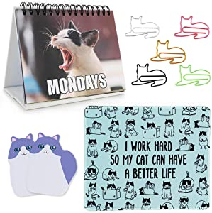 Office Gift for Cat Lovers | Cute Cat Office Supplies - Funny Cat Memes Desktop Flipbook, Cat Mouse Pad, Cat Shaped Bookmark Paper Clips, Cat Sticky Notes, Accessories for Home School Work Office