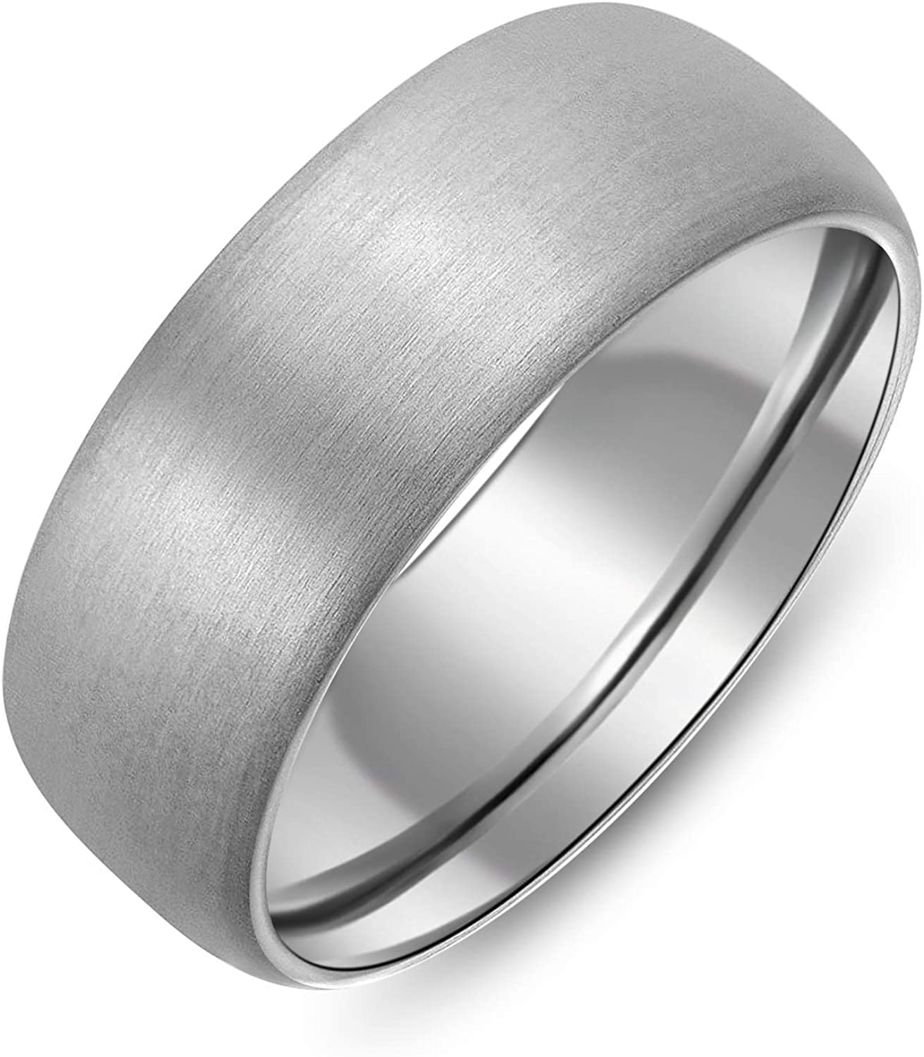 SJ Fashion 8mm Dome Brushed Plain Titanium Ring Mens Womens Wedding Bands Comfort Fit Size 5-16