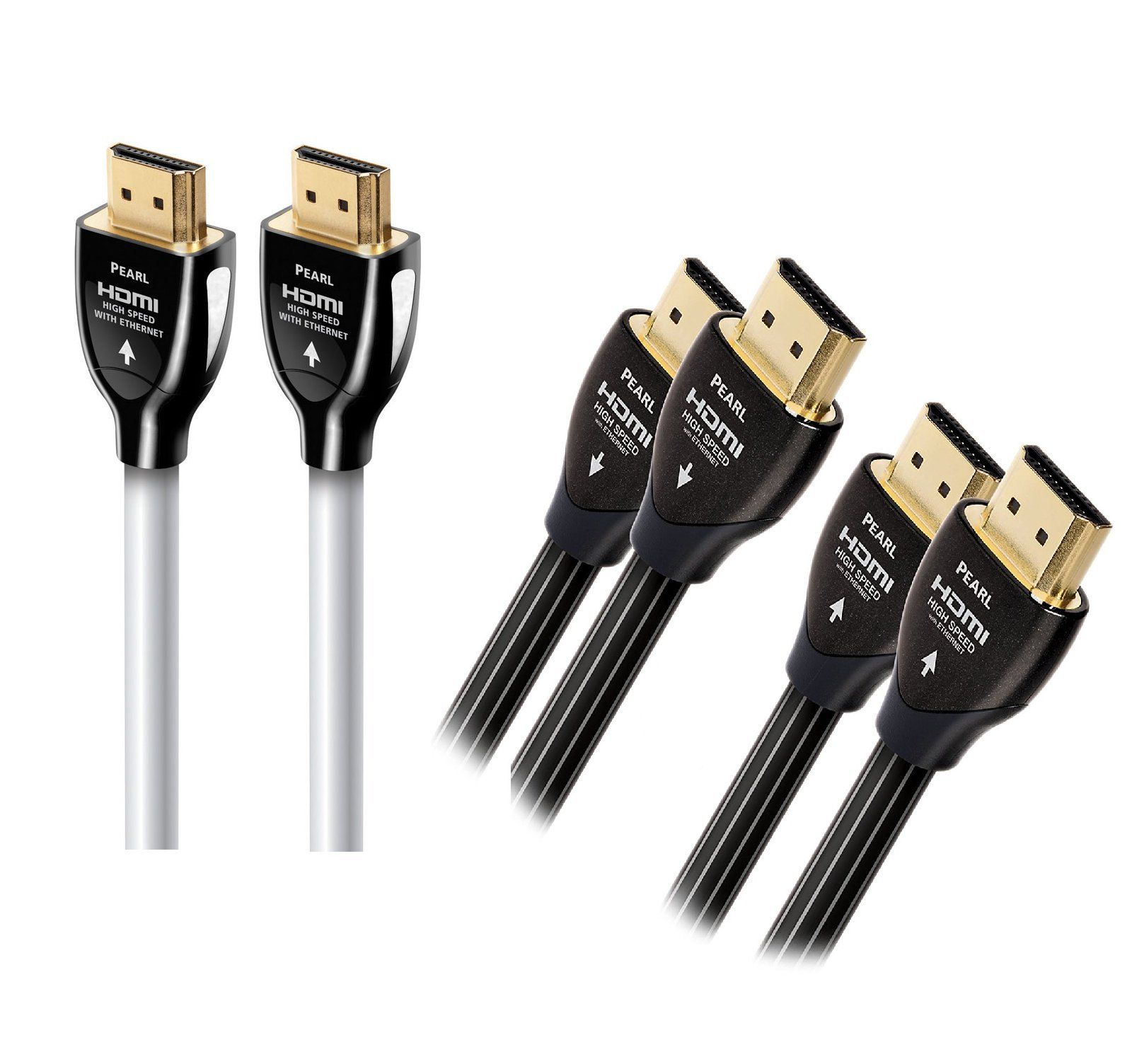 AudioQuest Pearl 8.0m (26.24 ft.) & Two Pearl 1m (3.28 ft.) Digital A/V HDMI Cable Bundle