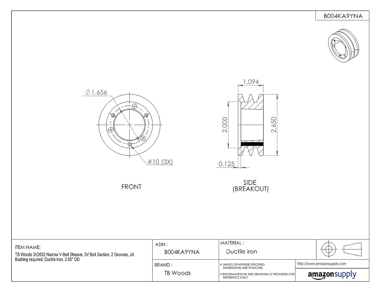 3V Belt Section TB Woods 3V1062 Narrow V-Belt Sheave SK Bushing required 10.60 OD 2 Grooves Cast Iron