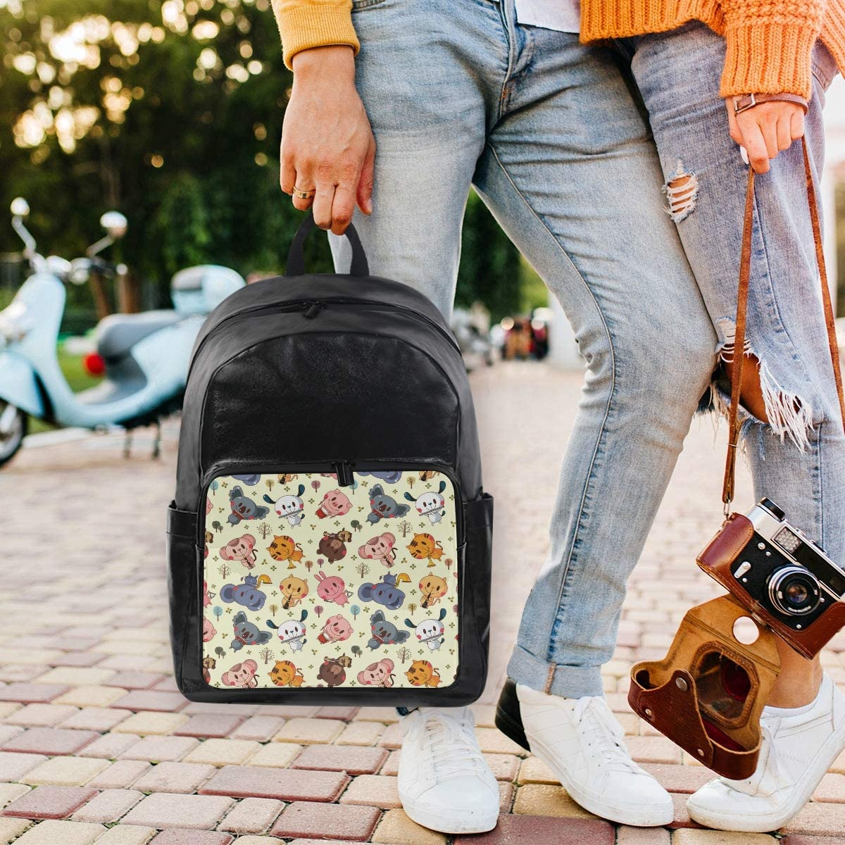 FANTAZIO Backpacks Cartoon Animals Tiger Elephant and Dog School Bag Canvas Daypack with Zipper