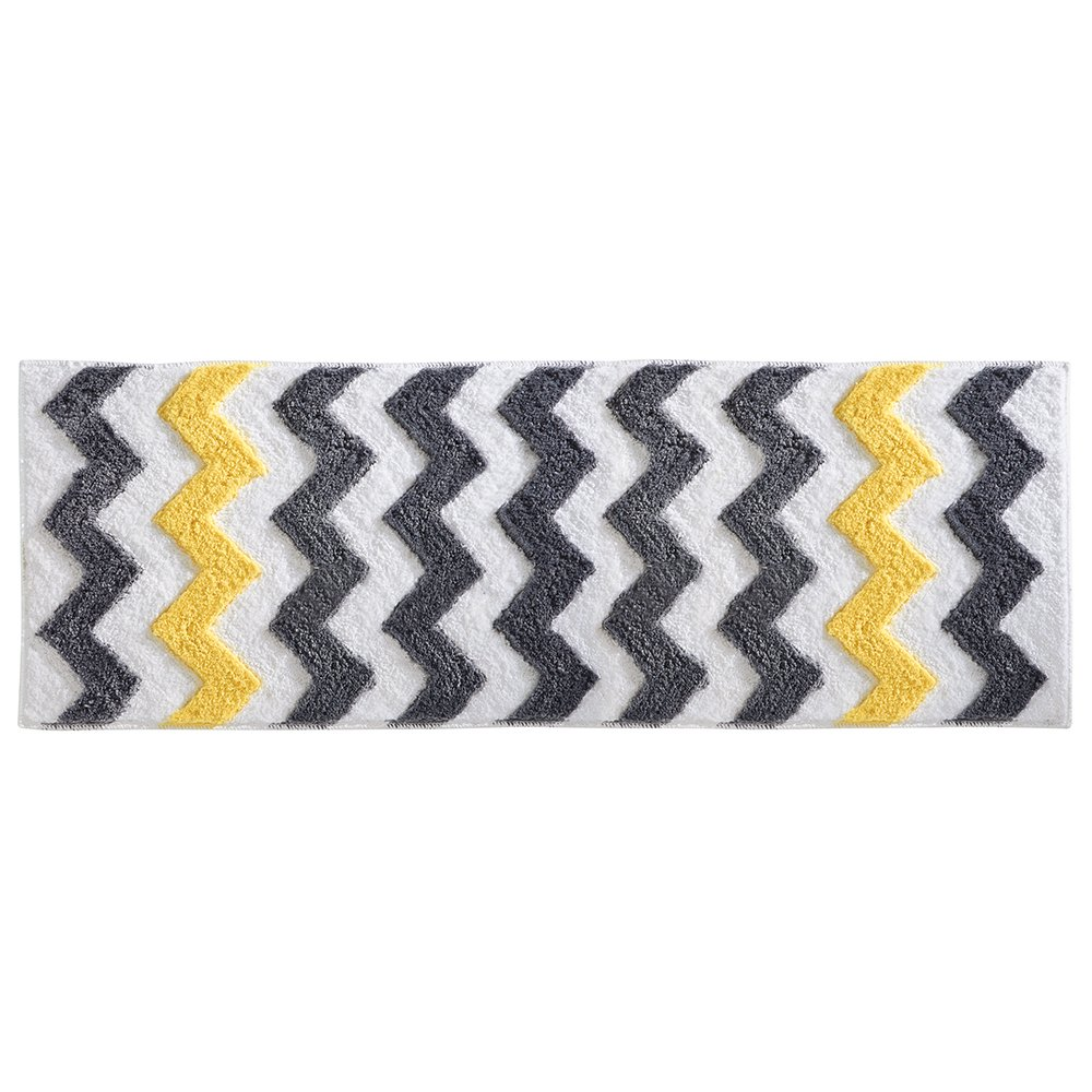 iDesign Chevron Microfiber Long Accent Shower Rug, Bath Mat for Master